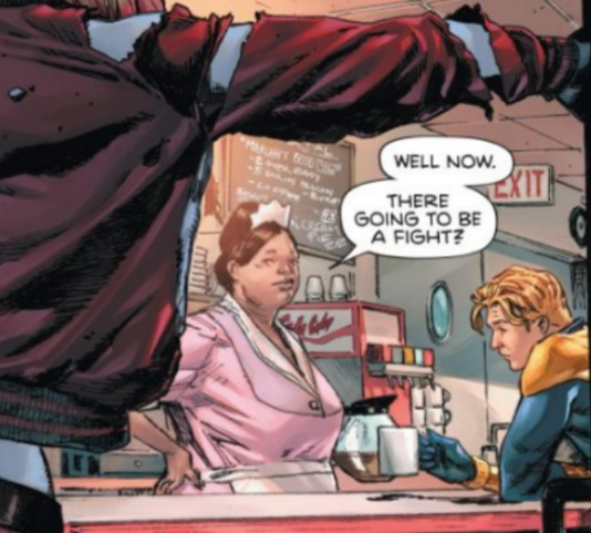 Panel from Heroes in Crisis #1 featuring Booster Gold and Harley Quinn in a Nebraska diner, before an inevitable fight.